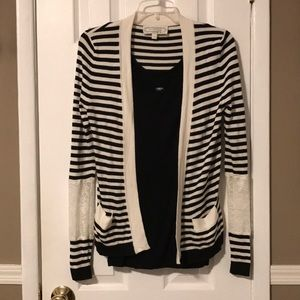 Beyond vintage blk/white stripe lace slve cardigan